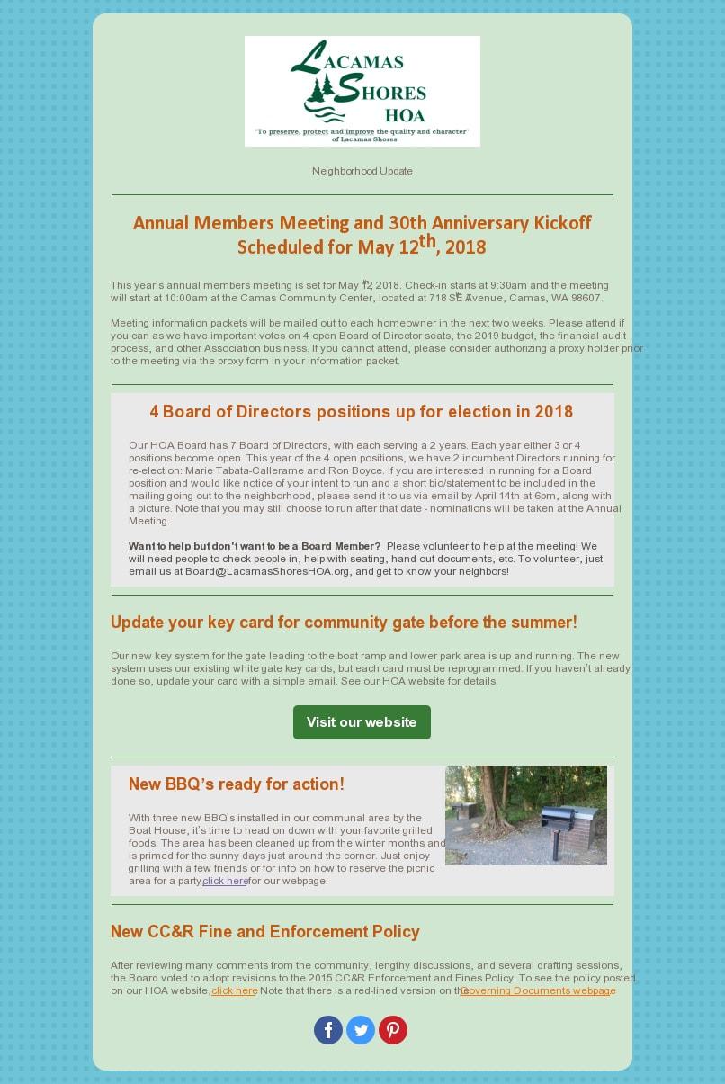 LS HOA News - Lacamas Shores Homeowners' Association