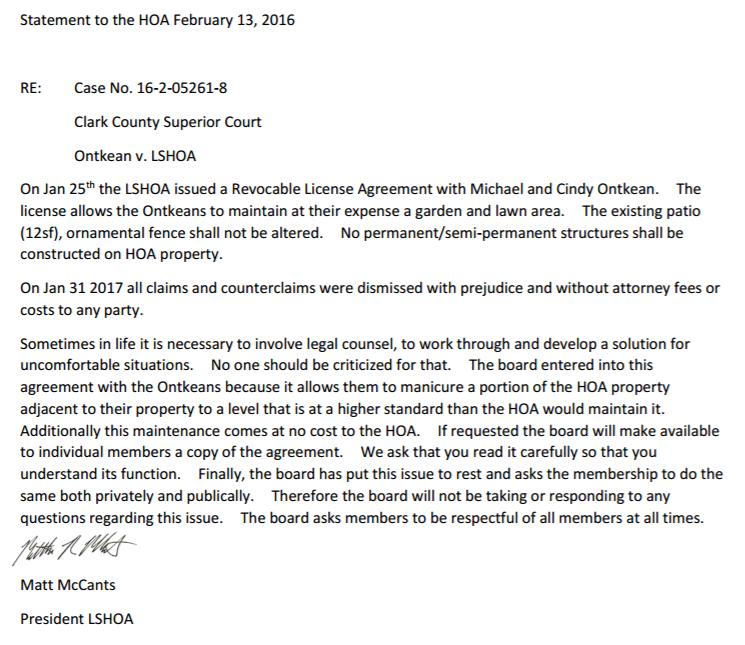 Hoa V Property Owner Lacamas Shores Homeowners Association